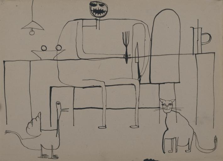 OTÁZKA / Marie Klimešová   Bez názvu (Večeře volně podle Dubuffeta), kresba tuší rákosem, papír, 20,8 x 29 cm, soukromá sbírka Vídeň, foto Hana Hamplová