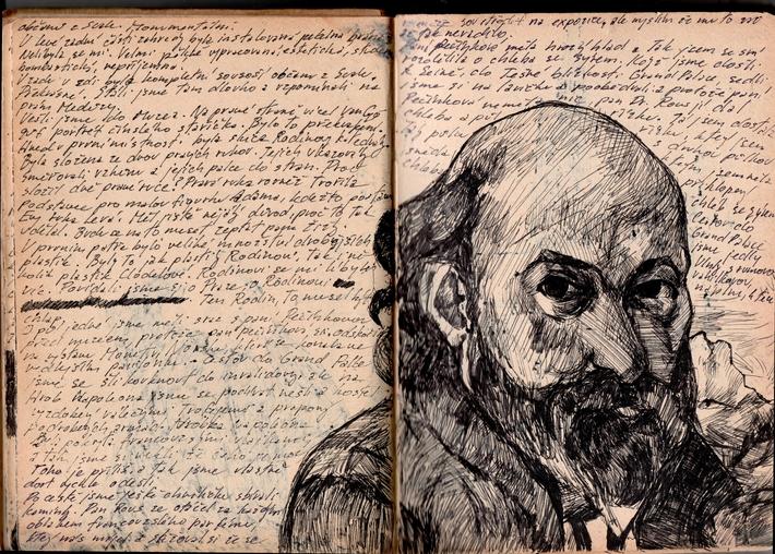OTÁZKA / Lucie Raškovová | Kresba z deníku, výlet do Paříže na výstavu Paula Cézanna, 1995
