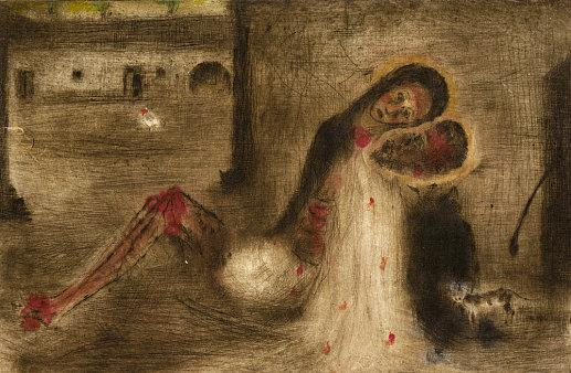 K výstavám Václava Radimského a Bohuslava Reynka | Bohuslav Reynek, Pieta na dvoře, 1950, suchá jehla s monotypem, 160 x 246 mm (foto GHMP)