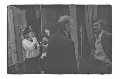 OTÁZKA / Anna Freimanová  | Jan Hraběta, Karel Bureš, Jan Grossman a Andrej Krob po představení (foto Bohdan Holomíček)