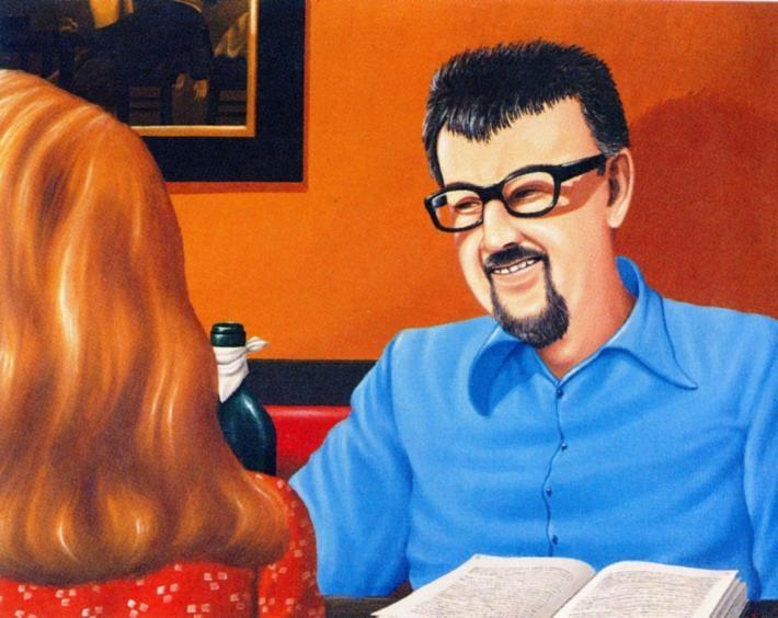 Před dvaceti pěti lety zemřel Jan Lopatka  | Jan Šafránek, Jan Lopatka předává informace překrásné Kanaďance, 1979, olej, plátno, foto archiv RR