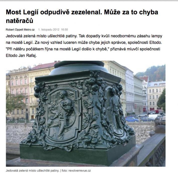 Novinky o lampách na mostě Legií