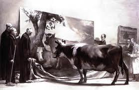 VI. Vážený průměr | Mark Tansey Zkouška nevinných okem 1981, olej, plátno