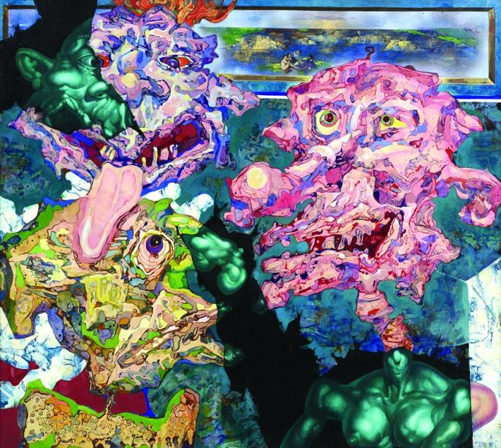 Tato víra je i pozadím roudnické výstavy (rozhovor s Duňou Slavíkovou) | Zbyšek Sion, Poslední snídaně v trávě, 1971, obludy zleva Slavík, Brikcius a Steklík, foto Oto Palán, soukromá sbírka
