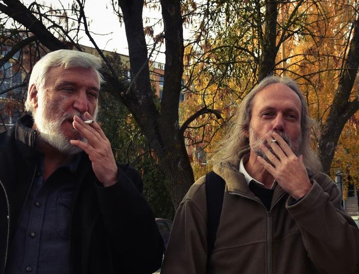Předávání noci (Vítu Slívovi ksedmdesátým narozeninám) | Zleva Vít Slíva a Petr Hruška, foto archiv autora