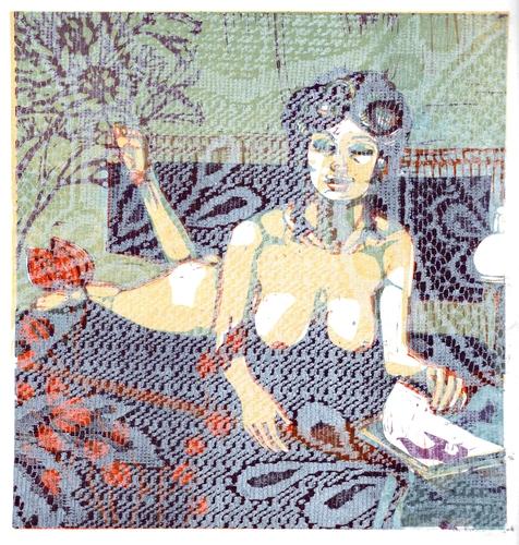 OTÁZKA / Lucie Raškovová | Gerda, z cyklu Hambářky, barevný linoryt a tisk z textilu podle diapozitivu neznámého autora, 2021