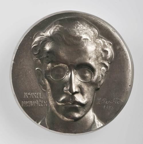 Za sochařem Zdeňkem Preclíkem (20. 1. 1949 – 21. 3. 2021) | Karel Hlaváček, 1978, chromnikl, průměr 9,6 cm, lily strojírny Velká Bíteš