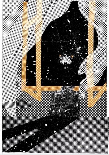 OTÁZKA / Lucie Raškovová | Nonsensy, ilustrace k básním, koláže z obtahů rastrových knihtiskových tangýr a podložek pod štočky, 2013