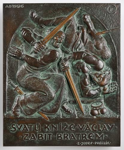 Za sochařem Zdeňkem Preclíkem (20. 1. 1949 – 21. 3. 2021) | Smrt svatého Václava, 1996, bronz, 34,5 × 28,5 cm, lil Karel Mráz