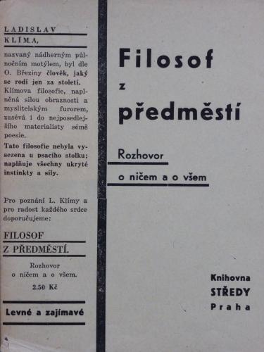 Levné a zajímavé (nad novým vydáním Filosofa z předměstí) | 2. vydání. Praha: Knihovna STŘEDY, bez vročení