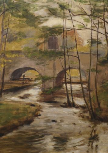 Malé umění malého světa | Adolf Träger, Most v Hluboké nad Vltavou, olej, plátno, 73 x 68 cm, ČS České Budějovice