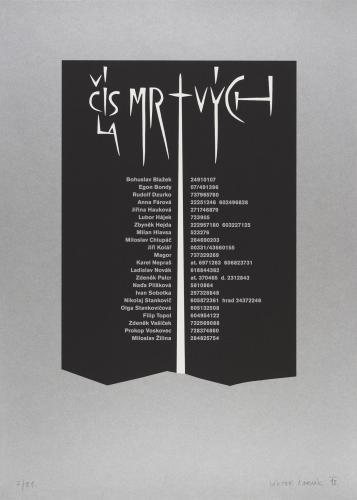 Typografiky Viktora Karlíka | Čísla mrtvých, 2013, serigrafieFoto prací Ondřej Přibyl
