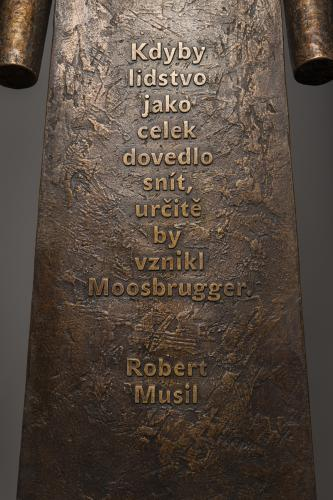 Moosbrugger, Přítomnost a Lékař krásy   Moosbrugger, 2012, bronz (detail)