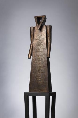 Moosbrugger, Přítomnost a Lékař krásy   Moosbrugger, 2012, bronz, železný sokl, v. 68 (v. 188 včetně soklu)