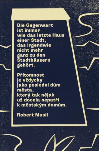 Moosbrugger, Přítomnost a Lékař krásy   Die Gegenwart / Přítomnost, 2013, serigrafie, papír, 59,2 x 39,2