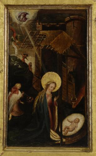 Nový rok se starým pokladem  | Narození Krista, vnější strana střední desky oboustranně malovaného skládacího oltáříku zkonce 16. století. foto Jan Gloc