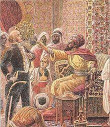 Válka v Alžírsku po šedesáti letech | Osudové klepnutí vějířem: 30. dubna 1828 osmanský regent v Alžíru Hussein Dey klepnul vějířem francouzského konzula Pierra Devala na protest proti francouzskému odmítnutí splatit dluh za nákup obilí Napoleonem během jeho výpravy do Egypta. Urážka se stala záminkou k rozpoutání války a obsazení Alžírska Francouzi.
