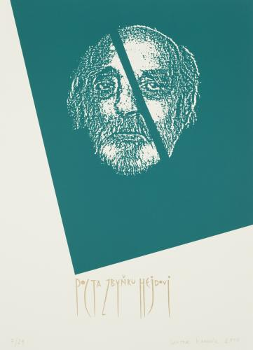 Za Zbyňkem Hejdou (Bohumil Doležal, Michael Špirit a nepublikovaný rozhovor)   Viktor Karlík, Pocta Zbyňku Hejdovi, 2010, serigrafie, 70 x 50